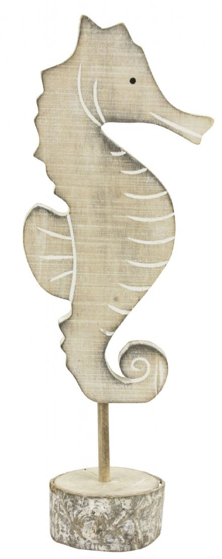 27cm Wooden Seahorse Ornament on Bark Plinth
